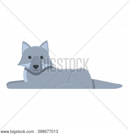 Resting Wolf Icon. Cartoon Of Resting Wolf Vector Icon For Web Design Isolated On White Background
