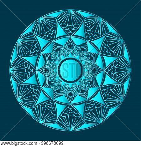 Ornamental Background Design And Islamic Abstract Mandala Design Of Floral Arabesque Greenish Blue C
