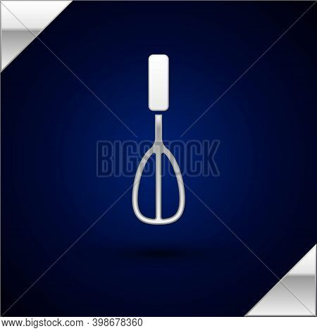 Silver Kitchen Whisk Icon Isolated On Dark Blue Background. Cooking Utensil, Egg Beater. Cutlery Sig