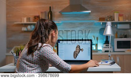 Young Remote Woman Architect Working On Modern Cad Program Overtime. Industrial Female Engineer Stud