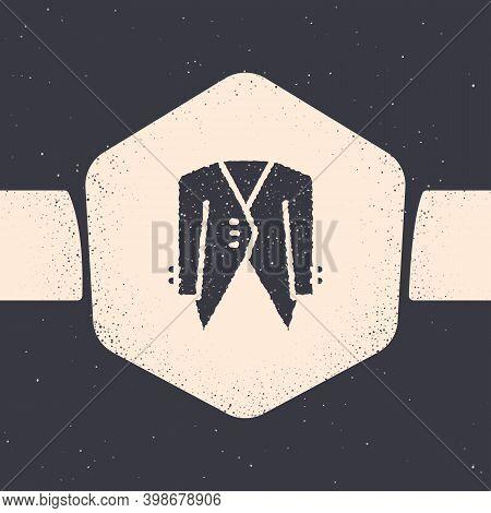 Grunge Suit Icon Isolated On Grey Background. Tuxedo. Wedding Suits With Necktie. Monochrome Vintage