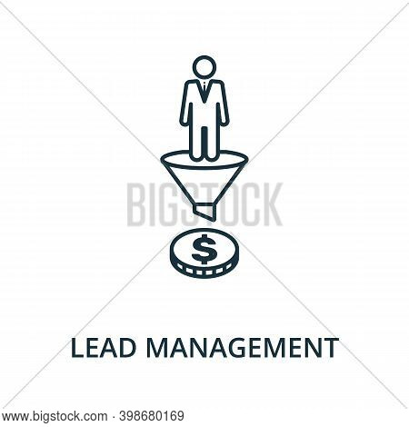 Lead Management Icon. Line Style Element From Reputation Management Collection. Thin Lead Management