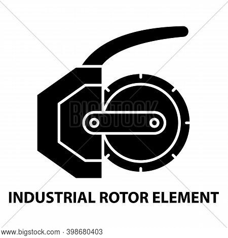Industrial Rotor Element Icon, Black Vector Sign With Editable Strokes, Concept Illustration