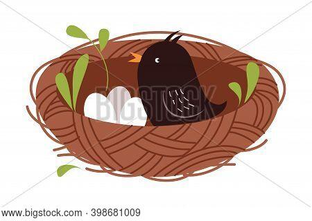 Cute Little Bird As Forest Habitant Sitting In Nest Vector Illustration