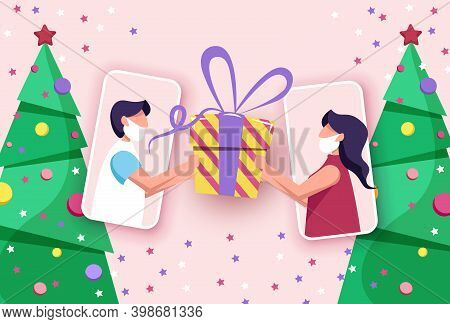Party online, video call. Friends in mask celebrate Christmas and New Year online using mobile phones. Christmas new normal concept with man and woman. Merry Christmas card. Merry Christmas card vector Illustration.Christmas. Christmas Vector. Christmas B