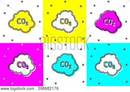 Set Co2 Emissions In Cloud Icon Isolated On Color Background. Carbon Dioxide Formula, Smog Pollution