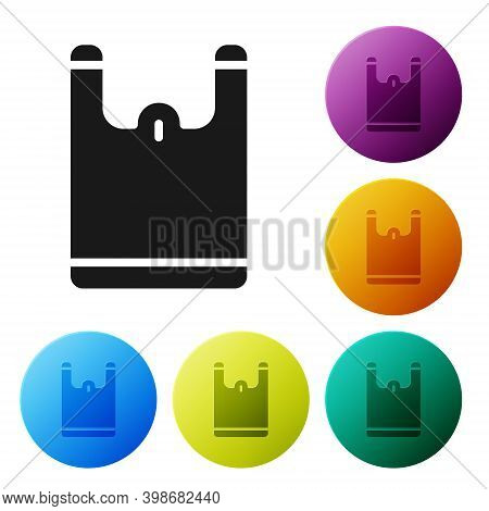 Black Plastic Bag Icon Isolated On White Background. Disposable Cellophane And Polythene Package Pro