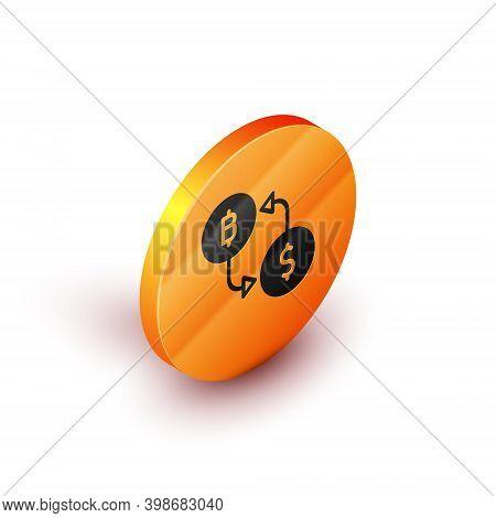 Isometric Cryptocurrency Exchange Icon Isolated On White Background. Bitcoin To Dollar Exchange Icon