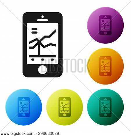 Black Mobile Stock Trading Concept Icon Isolated On White Background. Online Trading, Stock Market A