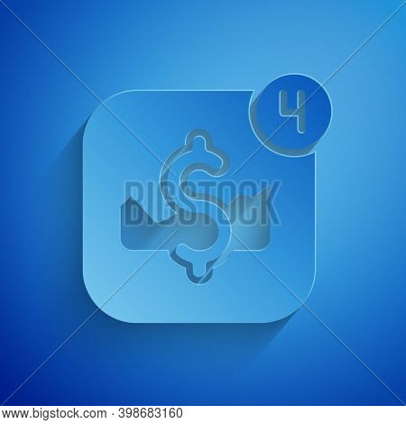Paper Cut Mobile Stock Trading Concept Icon Isolated On Blue Background. Online Trading, Stock Marke