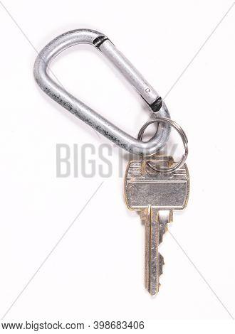 Key On Keyring, Isolated On White Background