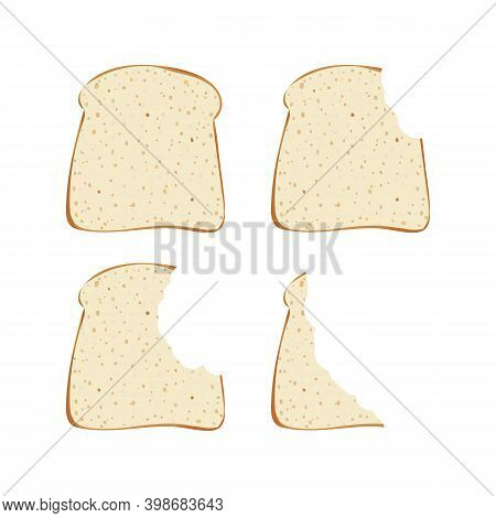 Sandwich Bread Slices Pieces Set. Vector Illustration. Bite Bakery Food. Snack And Breakfast.