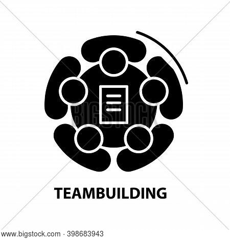 Teambuilding Icon, Black Vector Sign With Editable Strokes, Concept Illustration