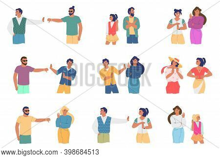 Conflict People Cartoon Character Set, Flat Vector Illustration. Family Relationship Problems, Confl