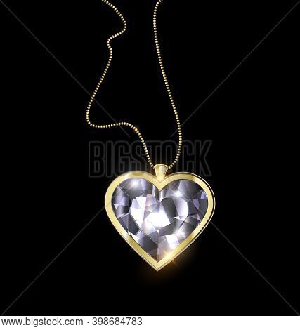 Black Background And Jewel Pendant Heart With Golden Chain