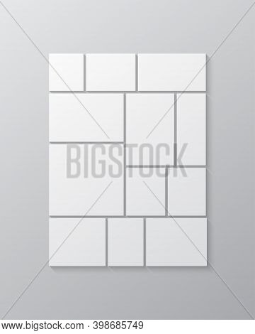 Vector Template Collage Twelve Frames Images Photo