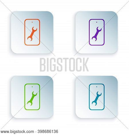 Color Mobile Phone With Wrench Icon Isolated On White Background. Adjusting, Service, Setting, Maint