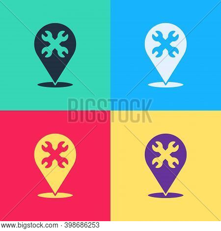 Pop Art Location With Wrench Spanner Icon Isolated On Color Background. Adjusting, Service, Setting,