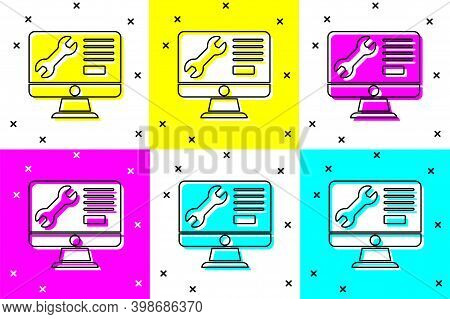 Set Computer Monitor With Wrench Icon Isolated On Color Background. Adjusting, Service, Setting, Mai