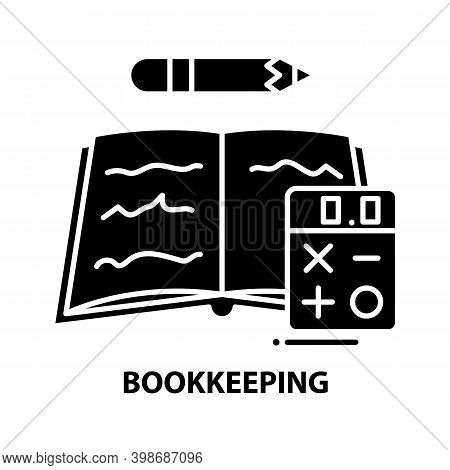 Bookkeeping Icon, Black Vector Sign With Editable Strokes, Concept Illustration