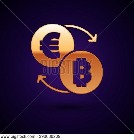 Gold Cryptocurrency Exchange Icon Isolated On Black Background. Bitcoin To Euro Exchange Icon. Crypt