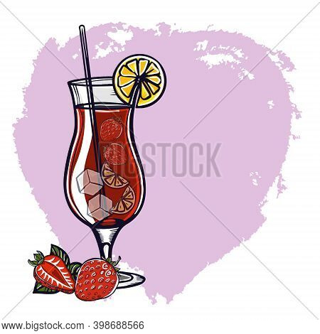 Strawberry Mojito. Mocktail Or Cocktail With Strawberries And Mint Leaves. A Refreshing Red Drink Is
