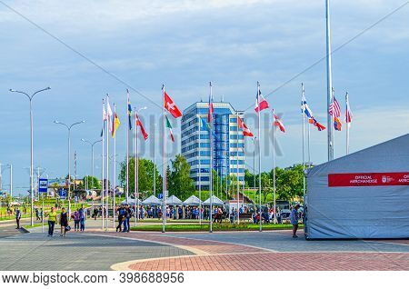 Minsk, Belarus, May 18, 2014: National Flags On Flagpole Near Chizhovka Arena During Ice Hockey 2014