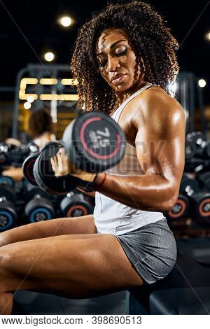 Female Bodybuilder Doing The Seated Dumbbell Bicep Curl