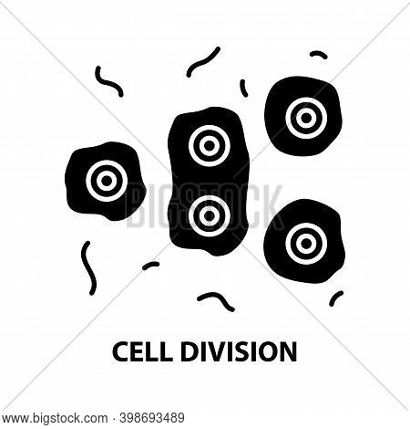Cell Division Icon, Black Vector Sign With Editable Strokes, Concept Illustration