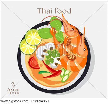 Thai Food Tom Yum Kung , Soup With Shrimps, Vector Flat Illustration