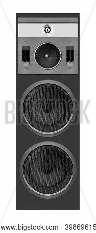 Music And Sound - Front View One Four Way Line Array Loudspeaker Enclosure Cabinet Isolated On A Whi