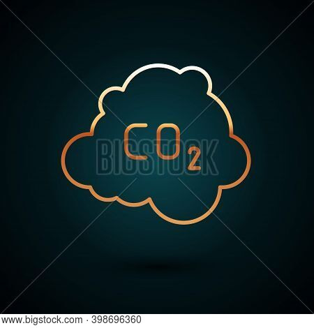 Gold Line Co2 Emissions In Cloud Icon Isolated On Dark Blue Background. Carbon Dioxide Formula, Smog