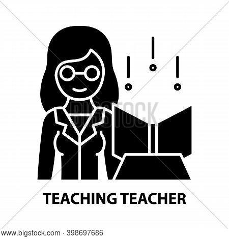 Teaching Teacher Icon, Black Vector Sign With Editable Strokes, Concept Illustration