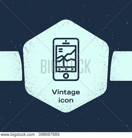 Grunge Line Mobile Stock Trading Concept Icon Isolated On Blue Background. Online Trading, Stock Mar