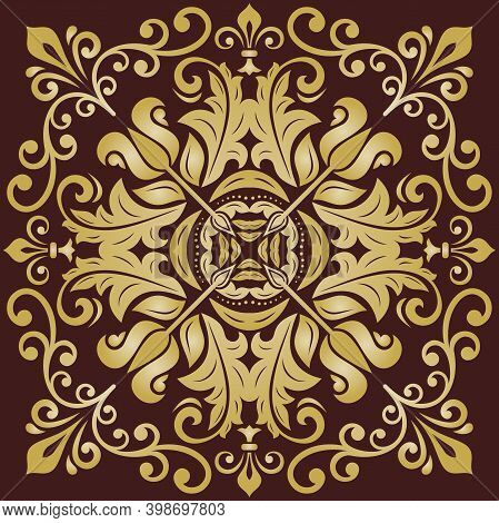 Oriental Vector Brown And Golden Pattern With Arabesques And Floral Elements. Traditional Classic Or