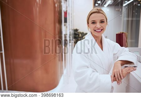 Joyous Spa Client Smiling At The Camera