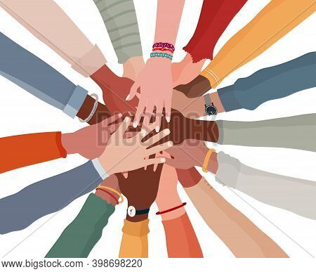 Group Hands On Top Of Each Other Of Diverse Multi-ethnic And Multicultural People.diversity People.d