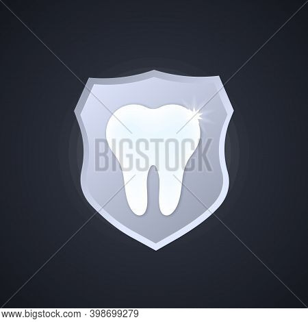 Tooth Icon. Protection Sign. Health Care Concept. Stomatology. Vector On Isolated Background. Eps 10