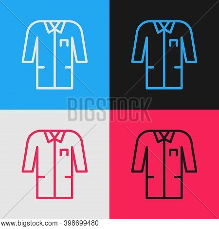 Pop Art Line Laboratory Uniform Icon Isolated On Color Background. Gown For Pharmaceutical Research