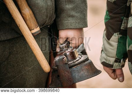 Close Up Of German Military Ammunition Of A German Wehrmacht Soldier. Re-enactor Dressed As World Wa