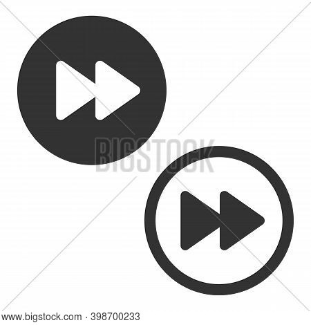 Fast Forward Icon, Rewind Button Isolated On White Background