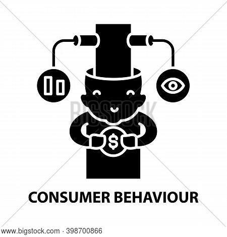 Consumer Behaviour Icon, Black Vector Sign With Editable Strokes, Concept Illustration