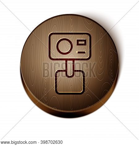 Brown Line Action Extreme Camera Icon Isolated On White Background. Video Camera Equipment For Filmi