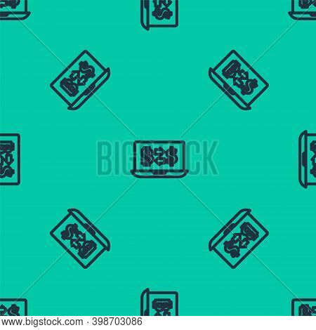 Blue Line Cryptocurrency Exchange Icon Isolated Seamless Pattern On Green Background. Bitcoin To Dol