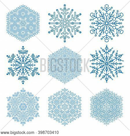 Set Of Vector Blue Snowflakes. Light Blue Winter Ornaments. Snowflakes Collection. Snowflakes For Ba