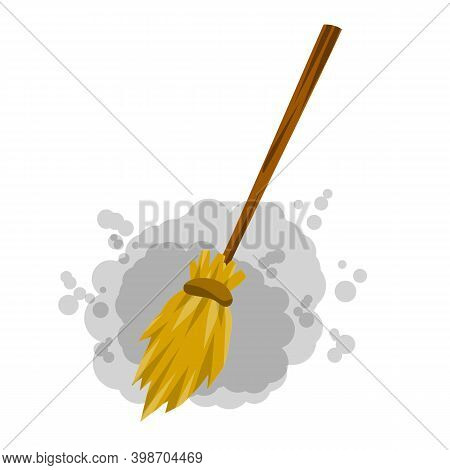 Broom. Rustic Item For House Cleaning. Element Of Witch. Cartoon Flat Illustration. Sweeping And Old