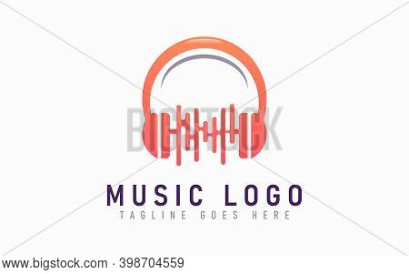 Abstract Musical Logo Design. Abstract Orange Headphone Combine With Sound Aura Symbol Design Usable