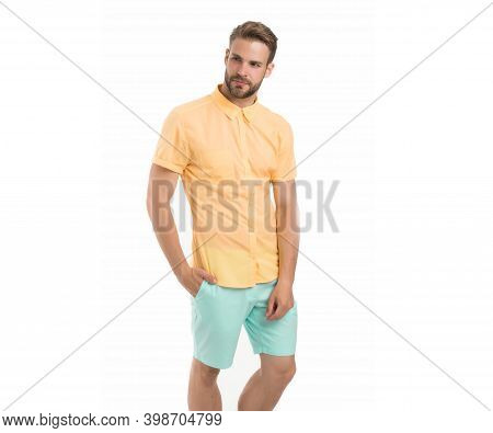 Guy Standing Seriously. Man With Bristle Isolated On White. Male Beauty And Fashion. Handsome Man Po