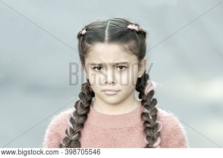 What Is Wrong. Hairdresser Salon. Braided Cutie. Little Girl With Cute Braids Close Up. Kanekalon St