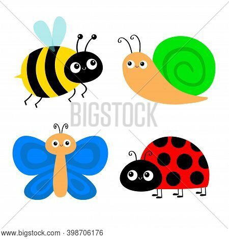 Butterfly, Snail, Lady Bug Ladybird Bee Bumblebee Flying Insect Icon Set. Ladybug. Side View. Cute C